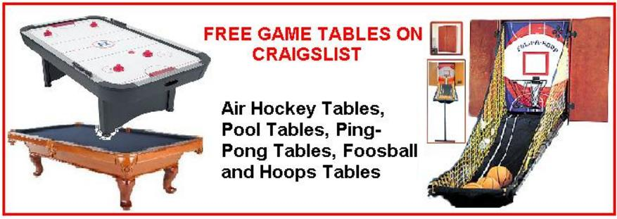 Free Game Tables Air Hockey Tables Pool Table Basketball Hoops - Free ping pong table craigslist